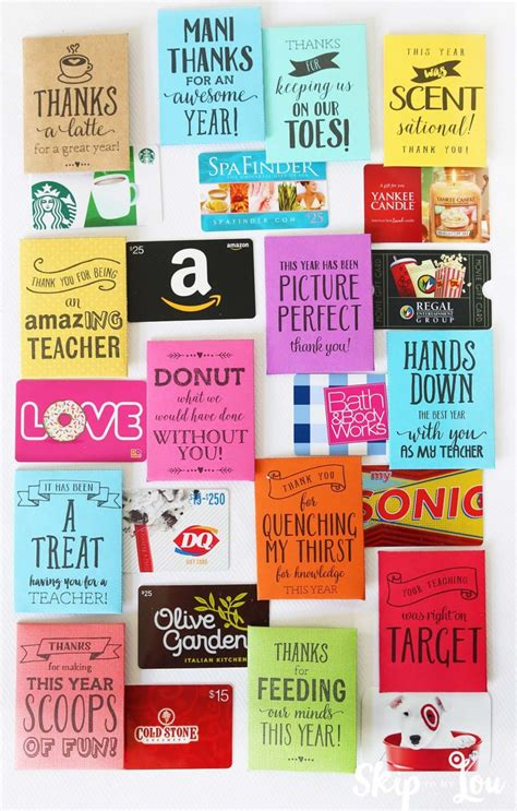 Gift Card Sayings - 50 cute sayings for teacher appreciation gifts