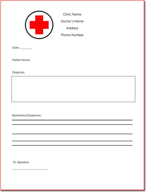 clinic note doctor s note template free download sle