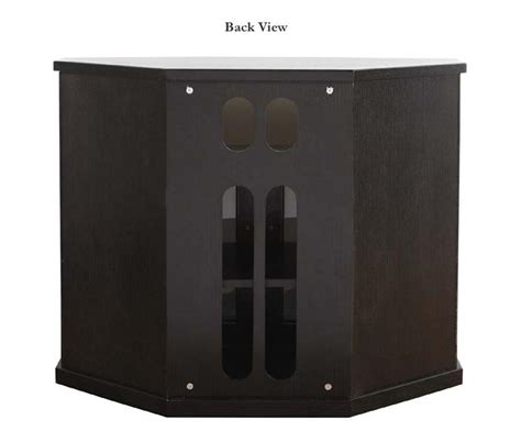 Black Tv Cabinet With Doors Plateau Newport Series Corner Wood Tv Cabinet With Glass Doors For 26 42 Inch Screens Black