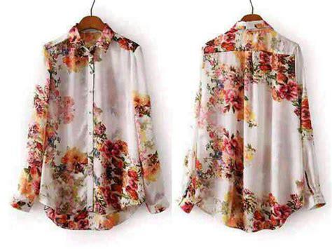 Kemeja Lengan Panjang Motif Bunga baju kemeja wanita lengan panjang motif bunga terbaru murah