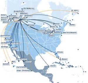 Westjet Route Map by West Jet