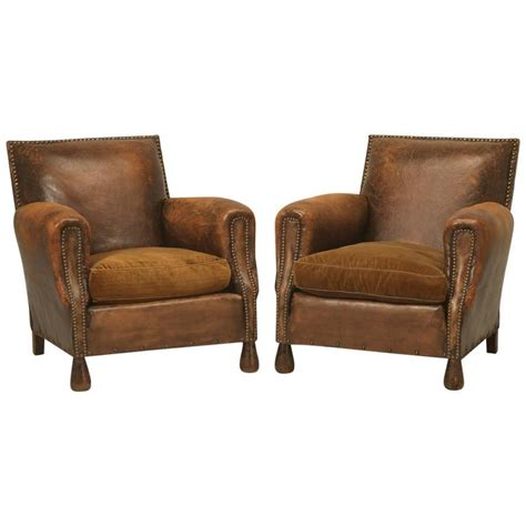 Club Chairs Sale Pair Of Deco Leather Club Chairs In Original