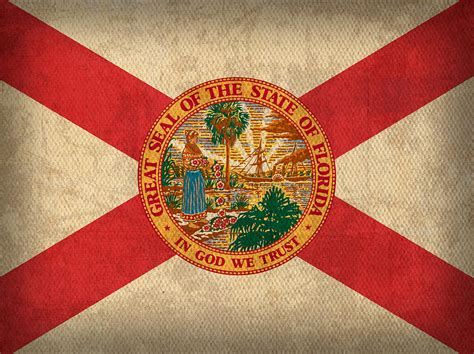 Florida State Flag Art On Worn Canvas Mixed Media by Design Turnpike
