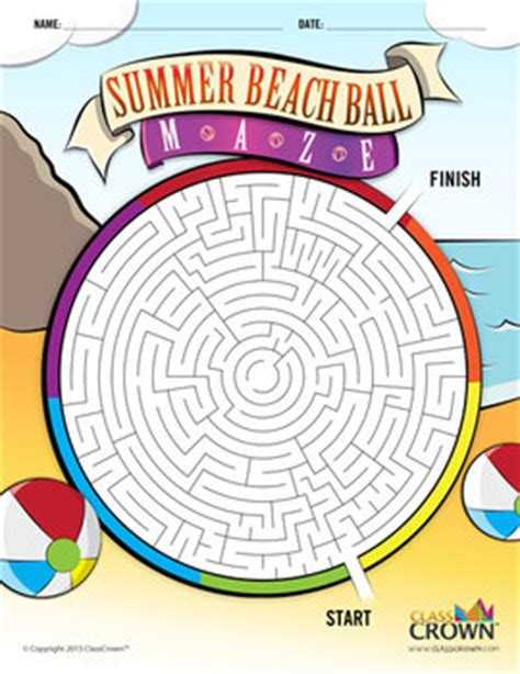 printable beach maze summer beach ball maze need something fun for the kiddos