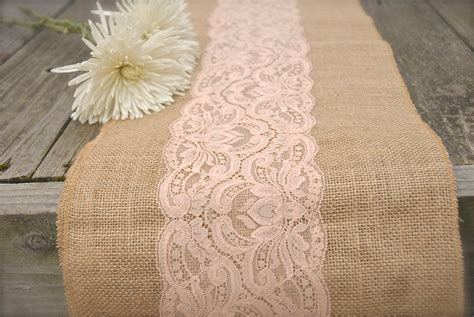 Gold Burlap Table Runner With Pink Lace Table Ruuner On Old Vintage Wood Wedding Table Ideas