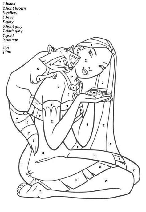 princess coloring pages by numbers hard color by number pages princess pocahontas color by