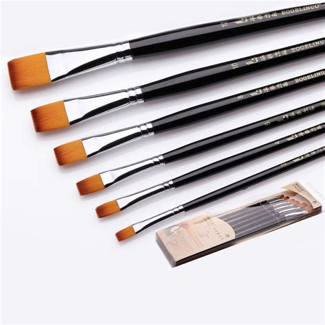 bgln 6pcs set painting brush paint water color painting brush flat paint brush