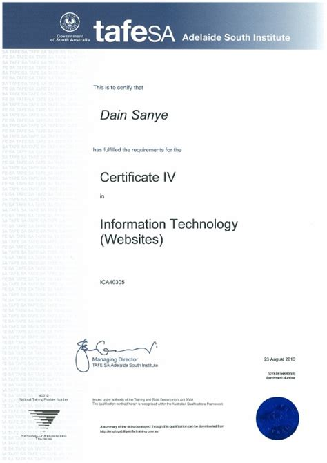 design certificate iv ica40305 certificate iv in information technology