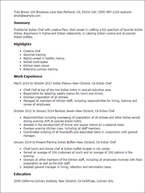 resume format 2014 india professional indian chef templates to showcase your talent myperfectresume