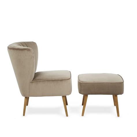 Bedroom Armchair And Footstool Samova Fabric Bedroom Chair And Foot Stool In Mink Velvet