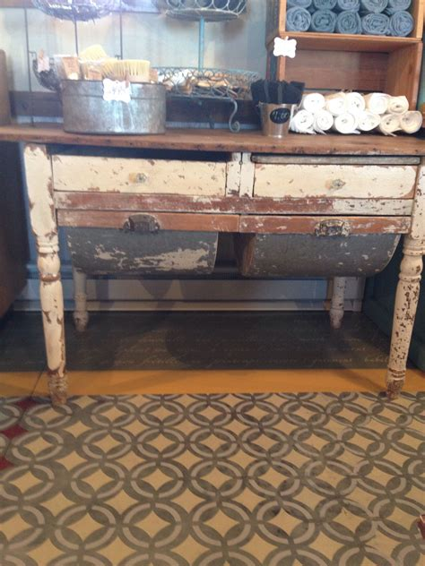 possum belly table  display  brushes vintage kitchen
