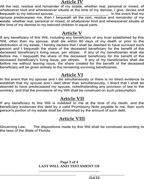 last will and testament template florida florida last will and testament form for free