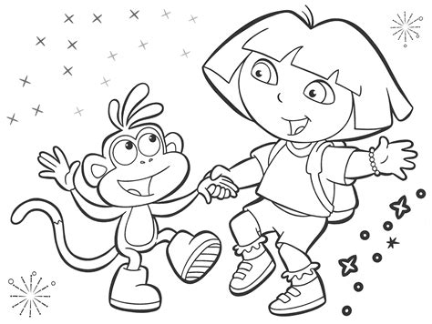 Black And White Coloring Pages Dora Black And White Black And White Color Pages
