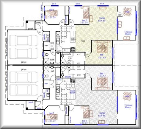 builder house plans 376 duplex plan unit floor plans townhouse