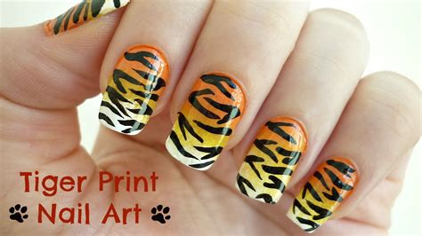 tiger pattern nail art tiger print nail art youtube