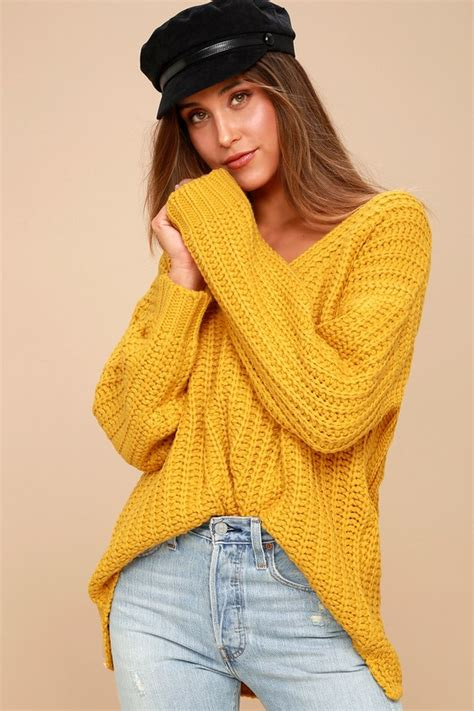 Hooded Chunky Sweater Yellow yellow knit sweater baggage clothing