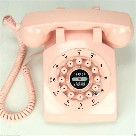 pink rotary 1960 style retro vintage antique telephone