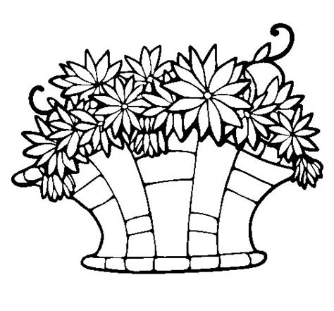 coloring pages basket of flowers basket of flowers 7 coloring page coloringcrew
