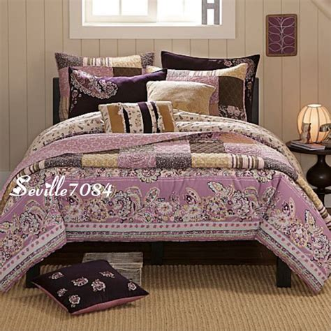 11p Twin Paisley Comforter Quilt Purple Pink Brown New Ebay