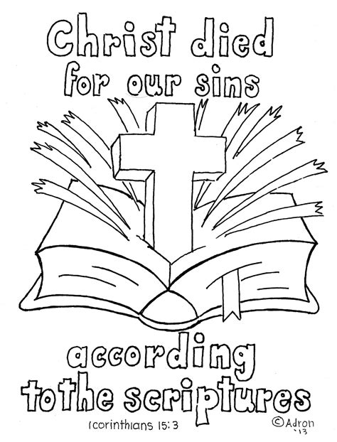 sunday school coloring pages with bible verses 1 corinthians 15 3 4 bible verse print and color page 1