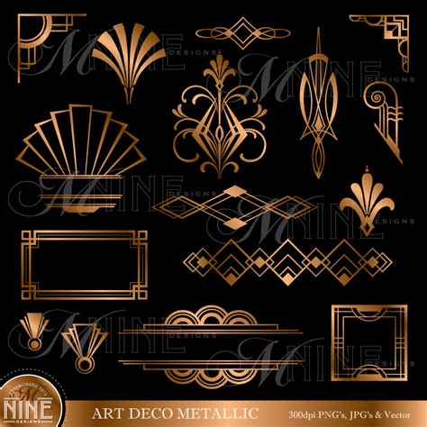 design elements of art deco bronze art deco accents clipart design elements instant