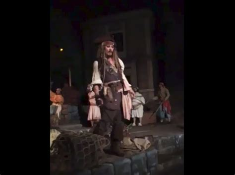 johnny depp on pirates of the caribbean disneyland ride johnny depp surprises guests as captain jack sparrow on