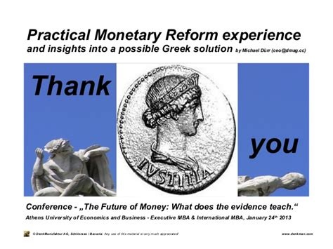 Athens Of Economics And Business Mba by Michael Duerr Practical Monetary Reform Experience And