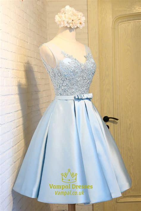 light blue sleeveless  neck   homecoming dress
