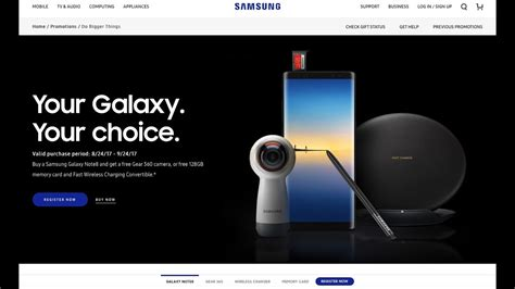 how to register for samsung galaxy note 8 promotion