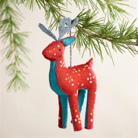 embroidered felt deer ornaments set of 2 world market
