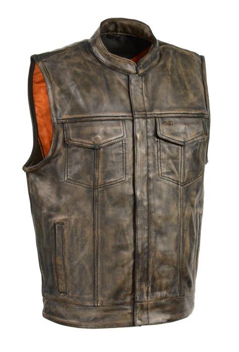 leather vest zipper soa club leather vest conceal carry weapon vest