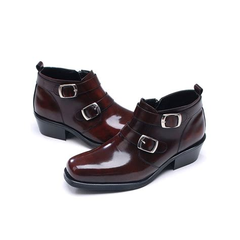 mens leather boots with buckles mens buckle brown leather boots