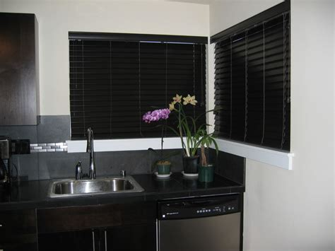 contemporary kitchen blinds faux wood blinds contemporary kitchen seattle by
