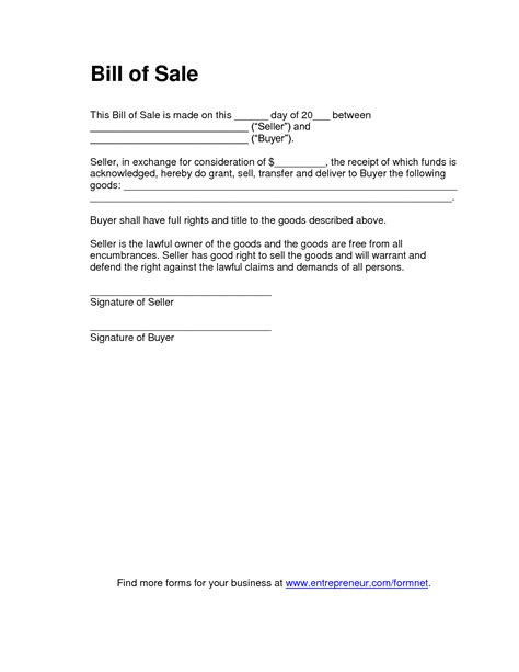 standard bill of sale template free printable tractor bill of sale form generic