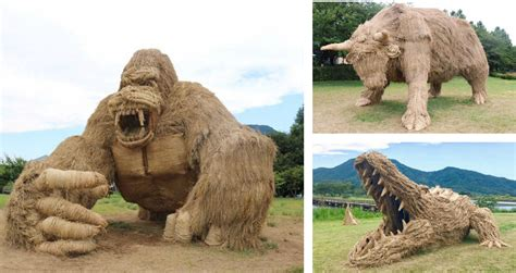 design art festival tokyo rice straw animal sculptures from the 2017 wara art