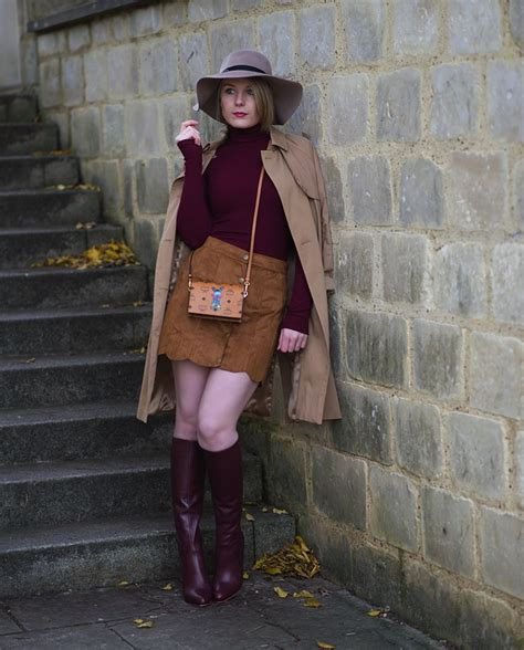 70 s inspiration with burgundy knee high boots raindrops