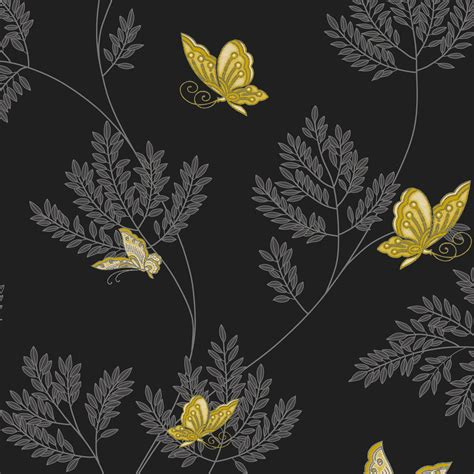 opera hermione black grey amp yellow floral butterflies