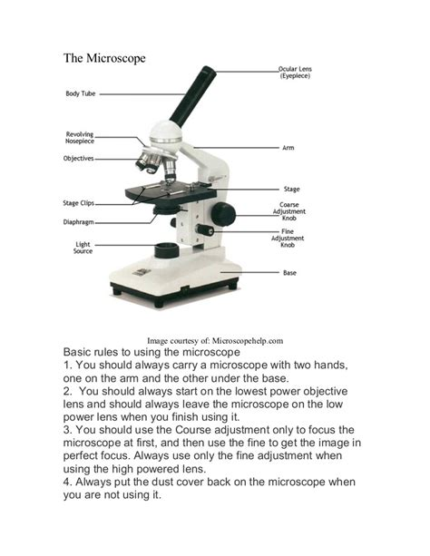 Labeled Diagram Of A Microscope With Functions microscope labeled diagram