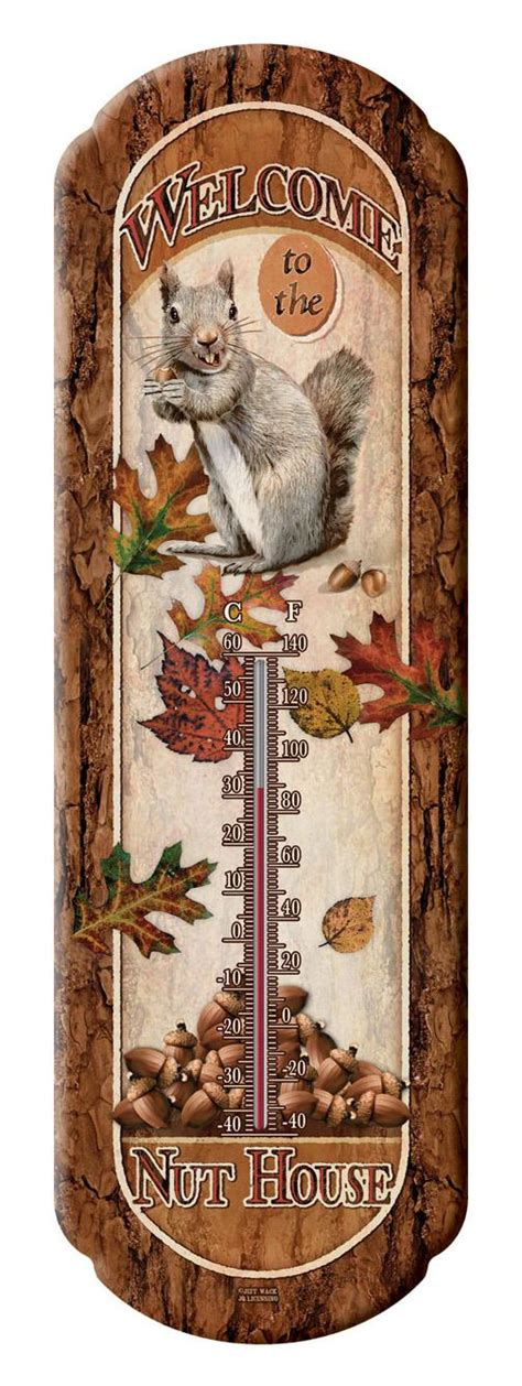 Large Outdoor Thermometer Decorative by Welcome To The Nut House Squirrell Tin Decorative