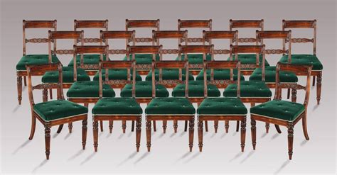 Regency Green Dining Room Set Of 20 Regency Period Dining Chairs With Green Velvet