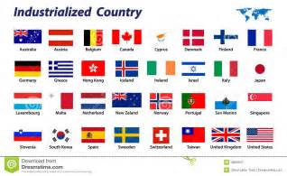 32 industrialized country flag royalty free stock