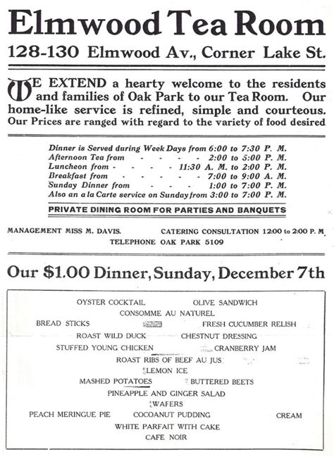 River Room Menu by 1000 Images About Oak Park History On