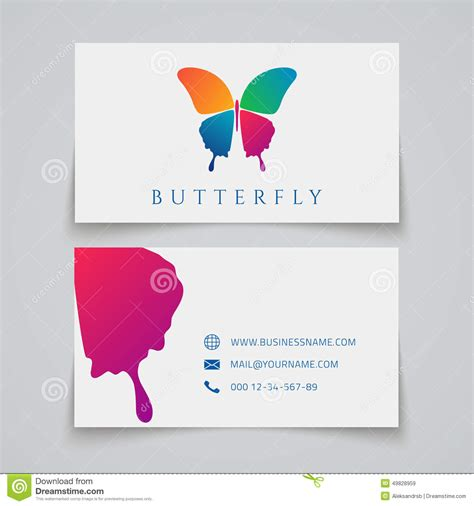 butterfly name card template bussiness card template butterfly logo stock vector