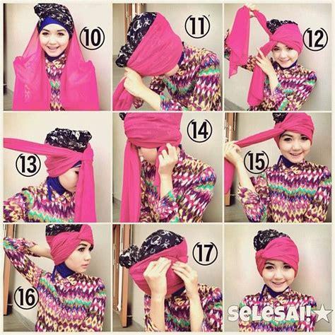 tutorial hijab turban segi empat untuk pesta cara berhijab modern segi empat yang sangat praktis