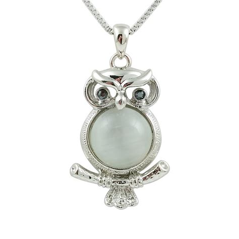 fashion jewelry 18k white gold plated owl necklace fn088