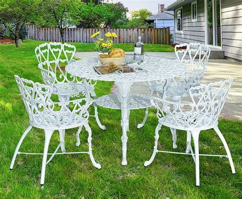 White Aluminum Patio Furniture Sets Antique Cast Aluminum Patio Dining Chairs White Set Of Two Ebay