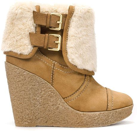 zara crepe wedge ankle boot with fur in brown lyst