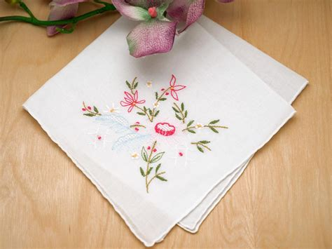 embroidery design for handkerchief set of 3 pink lotus flower embroidered handkerchiefs