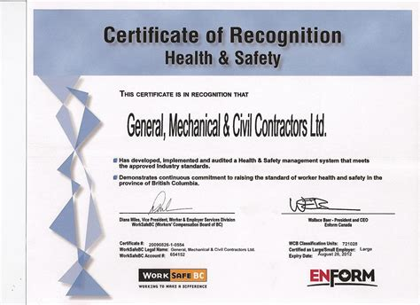 safety recognition certificate template gmc contractors safety certificates