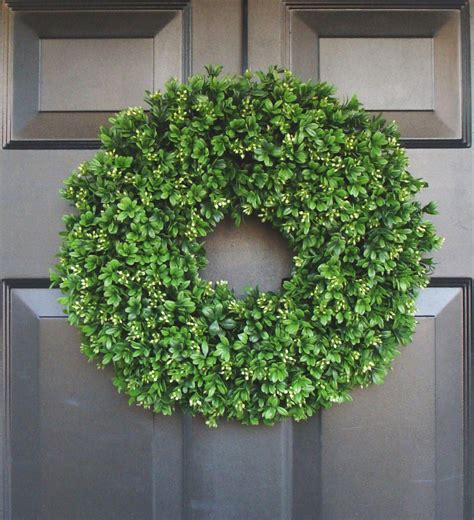 Artificial Boxwood Wreath 16 Inch Front Door Wreaths Wedding Front Door Garland